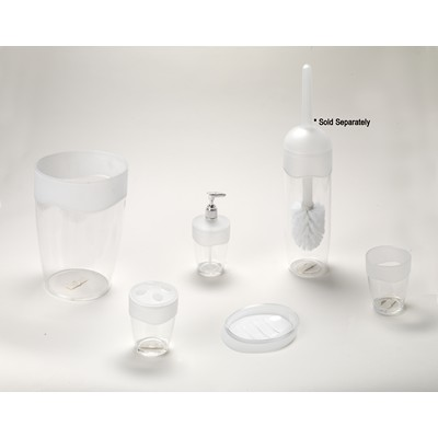 Carnation Home Fashions  Inc Clear with Frosted Trim 5 Piece Acrylic Bath Accessory Set Frosted Clear Search Results
