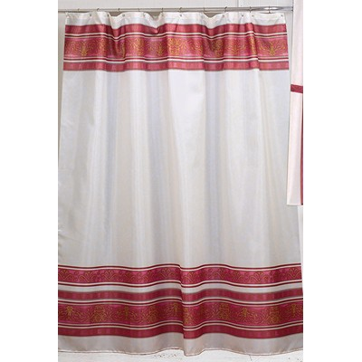 Fleur Fabric Shower Curtain In Burgundy