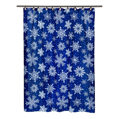 Carnation Home Fashions  Inc Snow Flakes Fabric Shower Curtain MULTI Search Results