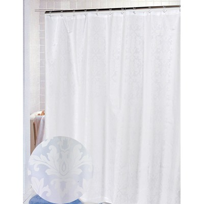 Carnation Home Fashions  Inc Damask Fabric Shower Curtain in White White Search Results
