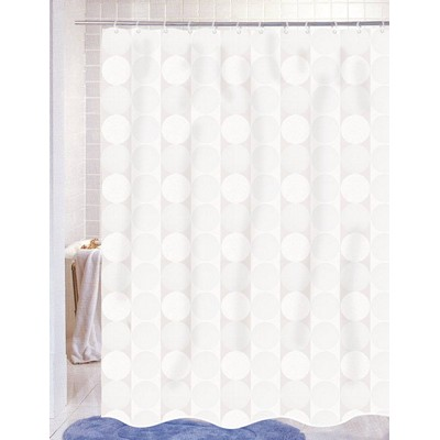 Carnation Home Fashions  Inc Jacquard Circles Fabric Shower Curtain in White White Search Results