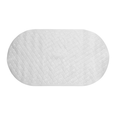 Carnation Home Fashions  Inc Weave Look Vinyl Bath Tub Mat Size 15x27 in White WHITE Search Results