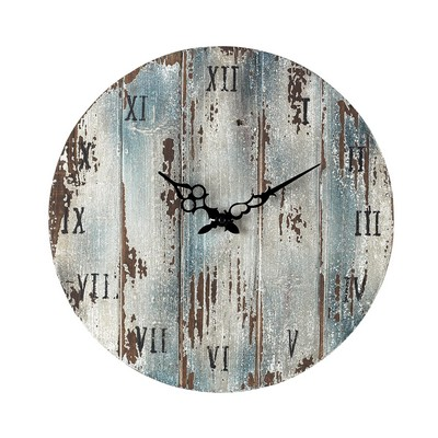 Sterling Wooden Roman Numeral Outdoor Wall Clock. Belos Dark Blue Outdoor Clocks