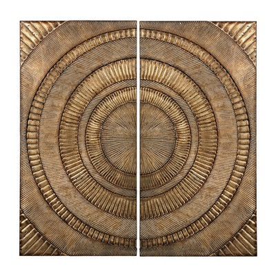 Sterling Set Of 2 Abstract Metal Wall Panels Glenharrow Gold  Search Results