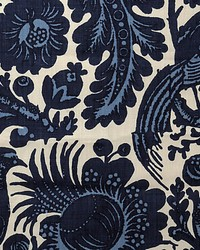 Scalamandre Spoleto Light  Dark Blue On White Fabric