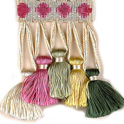 Scalamandre Trim FOLLIES GREENS, YELLOW, PINK Scalamandre Trim and Tassels - Fringe