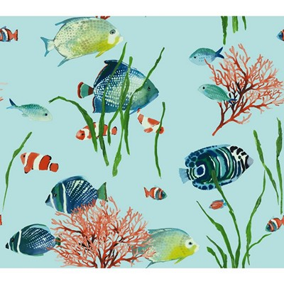 York Wallcovering TROPICAL REEF                  light to dark blue, green, peach, coral, orange, w Animals