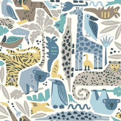 York Wallcovering DwellStudio Baby & Kids Jungle Puzzle                                      Blues /Browns /Yellows   Animals