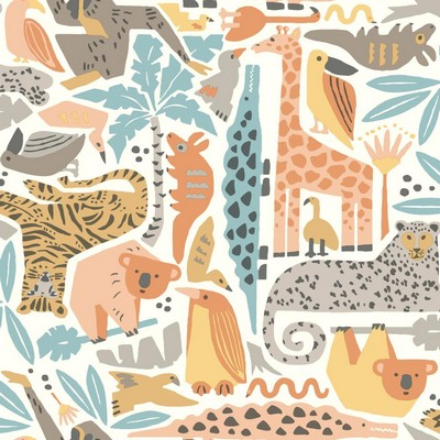 York Wallcovering DwellStudio Baby & Kids Jungle Puzzle                                      Oranges /Yellows /Browns   Animals