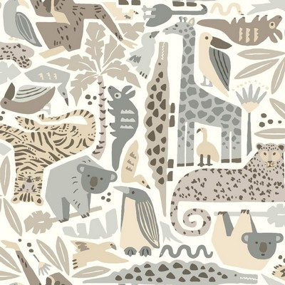 York Wallcovering DwellStudio Baby & Kids Jungle Puzzle                                      Browns /Blacks /Beiges   Animals
