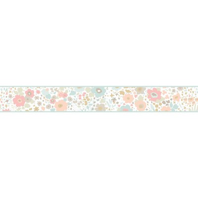 York Wallcovering DwellStudio Baby & Kids Posey Border                                       Pinks /Blues /Browns Traditional Flower Wallpaper