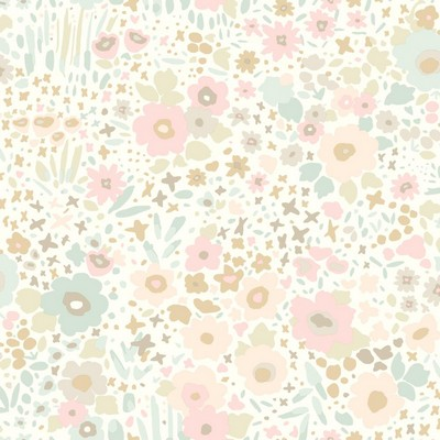 York Wallcovering DwellStudio Baby & Kids Posey Sidewall                                     Pinks /Blues /Browns Dwell Studio Baby and Kids
