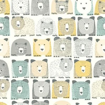 York Wallcovering DwellStudio Baby & Kids Bears Sidewall                                     Blues /Yellows /Blacks   Boys Wallpaper