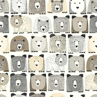 York Wallcovering DwellStudio Baby & Kids Bears Sidewall                                     Blacks /Browns /Beiges   Boys Wallpaper