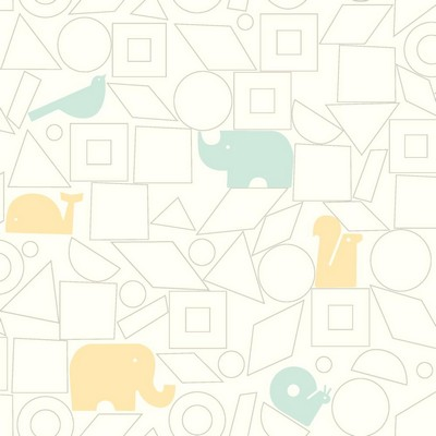 York Wallcovering DwellStudio Baby & Kids Animal Blocks                                      Blues /Yellows /White/Off Whites   Boys Wallpaper