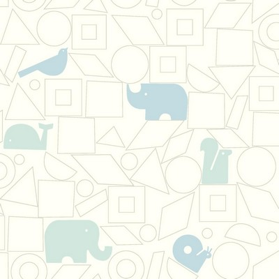 York Wallcovering DwellStudio Baby & Kids Animal Blocks                                      Blues /White/Off Whites   Boys Wallpaper
