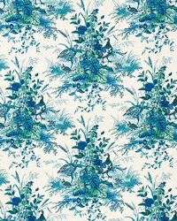 Schumacher Fabric Quail Meadow Peacock Fabric