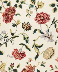 Schumacher Fabric Avebury Floral Vine Document Rose Fabric