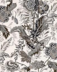 Schumacher Fabric Sandoway Vine Charcoal Fabric