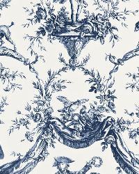 Schumacher Fabric Le Couronnement De La Rosiere Bleu Fabric