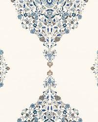 Schumacher Fabric Mehndi Linen Print Indigo Fabric