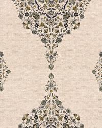 Schumacher Fabric Mehndi Linen Print Smoke Fabric
