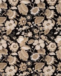 Schumacher Fabric Tikki Garden Lava Black Fabric