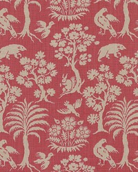 Schumacher Fabric Woodland Silhouette Rhubarb Fabric