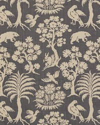 Schumacher Fabric Woodland Silhouette Steel Fabric