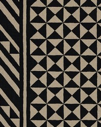 Schumacher Fabric Nuba Black On Natural Fabric