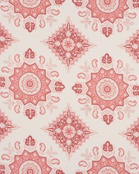 Schumacher Fabric Montecito Medallion Faded Red Fabric