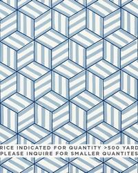 Schumacher Fabric Tumbling Blocks Contract Blue Fabric