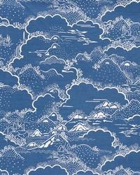 Schumacher Fabric Kumo Village Blue Fabric