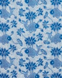 Schumacher Fabric Lotus Batik Indigo Fabric