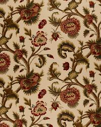 Schumacher Fabric Jacobean Printed Crewel Burnish Sage Fabric