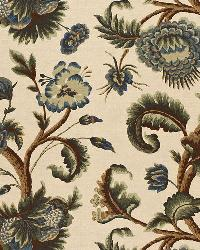 Schumacher Fabric Jacobean Printed Crewel Multi Blues Wood Tones Fabric