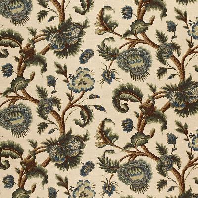 Schumacher Fabric JACOBEAN PRINTED CREWEL MULTI BLUES WOOD TONES Search Results