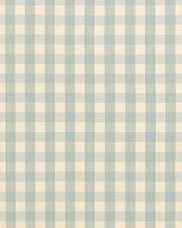 Schumacher Fabric Elton Cotton Check Aqua Fabric