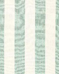 Schumacher Fabric Augustin Linen Stripe Sea Glass   Ivory Fabric