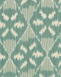 Schumacher Fabric Darjeeling Cotton Ikat Peacock Fabric