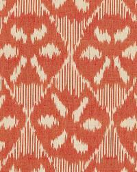 Schumacher Fabric Darjeeling Cotton Ikat Persimmon Fabric