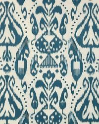 Schumacher Fabric Kiva Embroidered Ikat Lapis Fabric