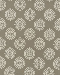 Schumacher Fabric Olana Linen Embroidery Stone Fabric