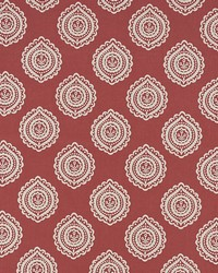 Schumacher Fabric Olana Linen Embroidery Tuscan Red Fabric