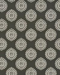 Schumacher Fabric Olana Linen Embroidery Graphite Fabric