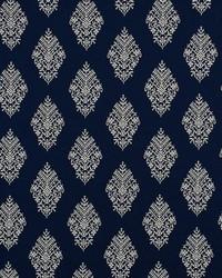Schumacher Fabric Zinda Embroidery Navy Fabric