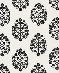 Schumacher Fabric Talitha Embroidery Blackwork Fabric