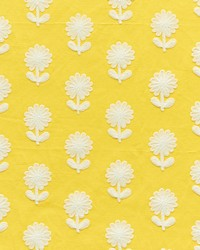Schumacher Fabric Paley Embroidery Yellow Fabric
