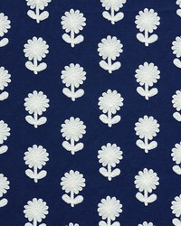 Schumacher Fabric Paley Embroidery Blue Fabric