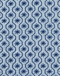 Schumacher Fabric Gigi Embroidery Blue Fabric